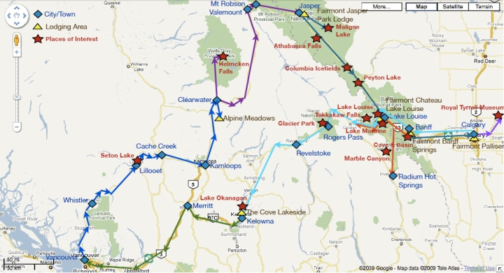 Driving Route with Points of Interest and Lodging Details
