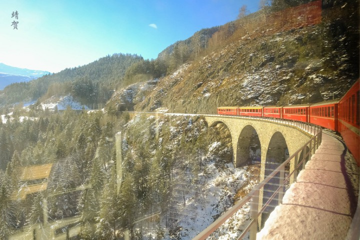 Onboard the Bernina Express from Chur to St. Moritz