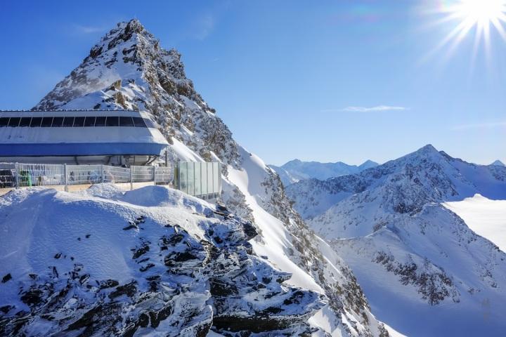Glacier skiing on a high at Sölden,Austria