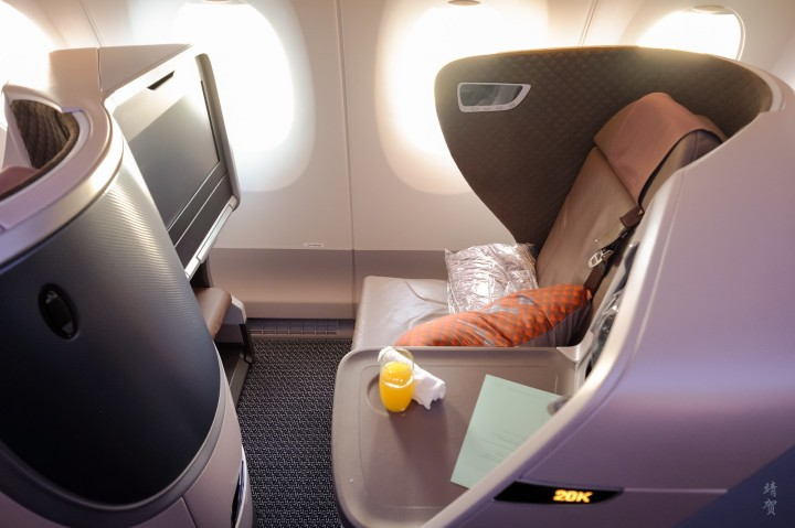 Singapore Airlines Regional Business Class seat on the A350 from Singapore to Jakarta